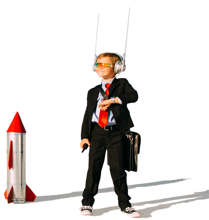 Boy in suit with futuristic sunglasses and headphones and rocket in the background