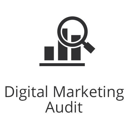 Digital marketing Audit graph and magnifying glass icon