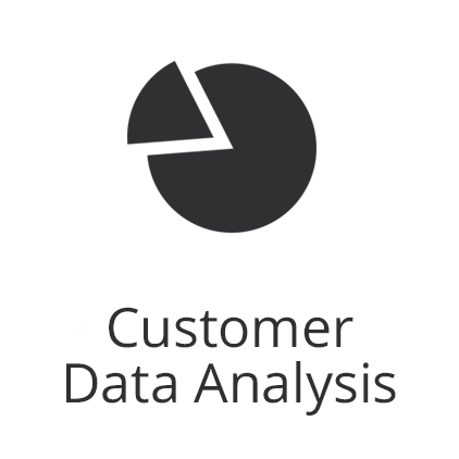 Customer data analysis with graph icon