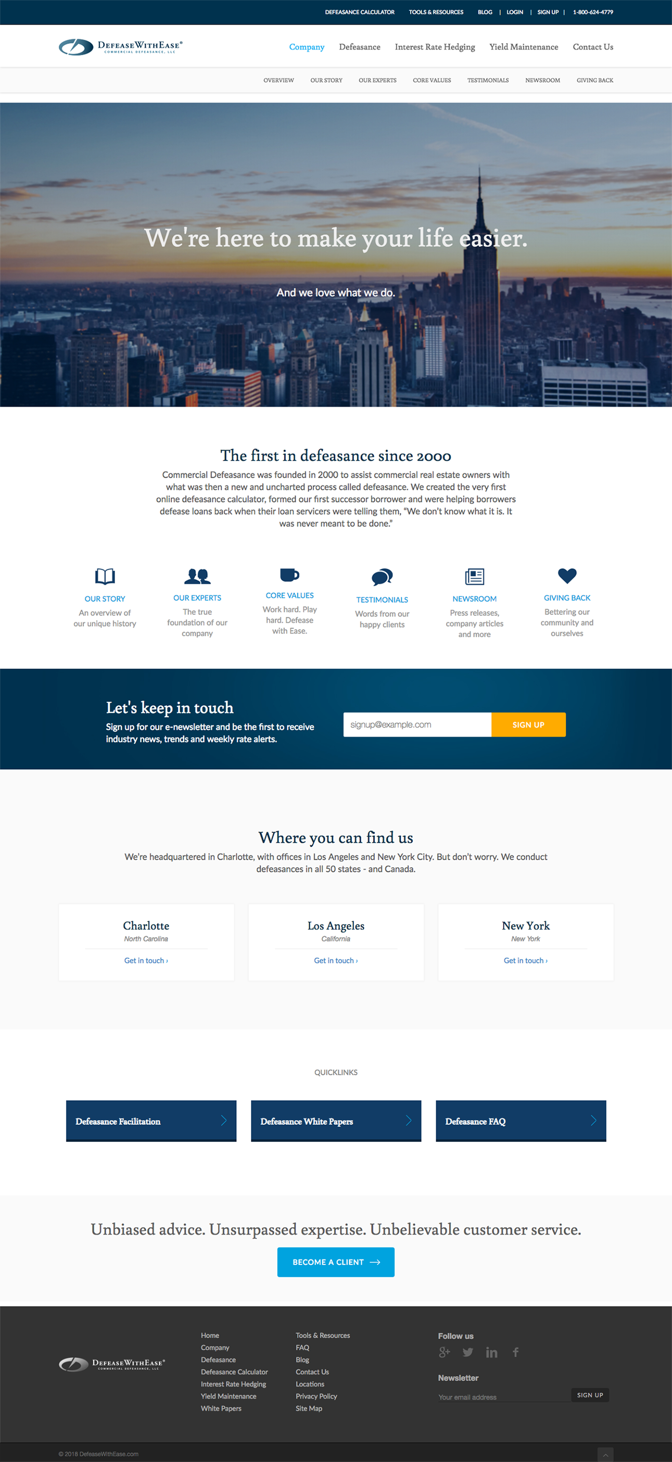 Screenshot of Defease with Ease homepage