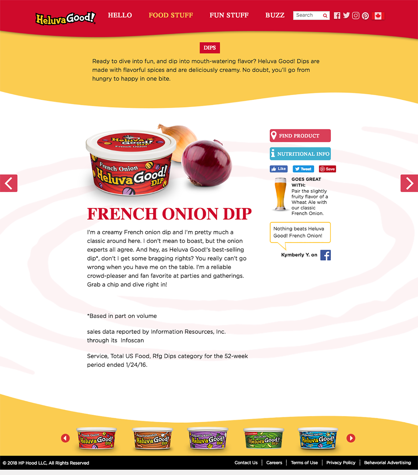 Screenshot of heluva good dip french onion website product listing