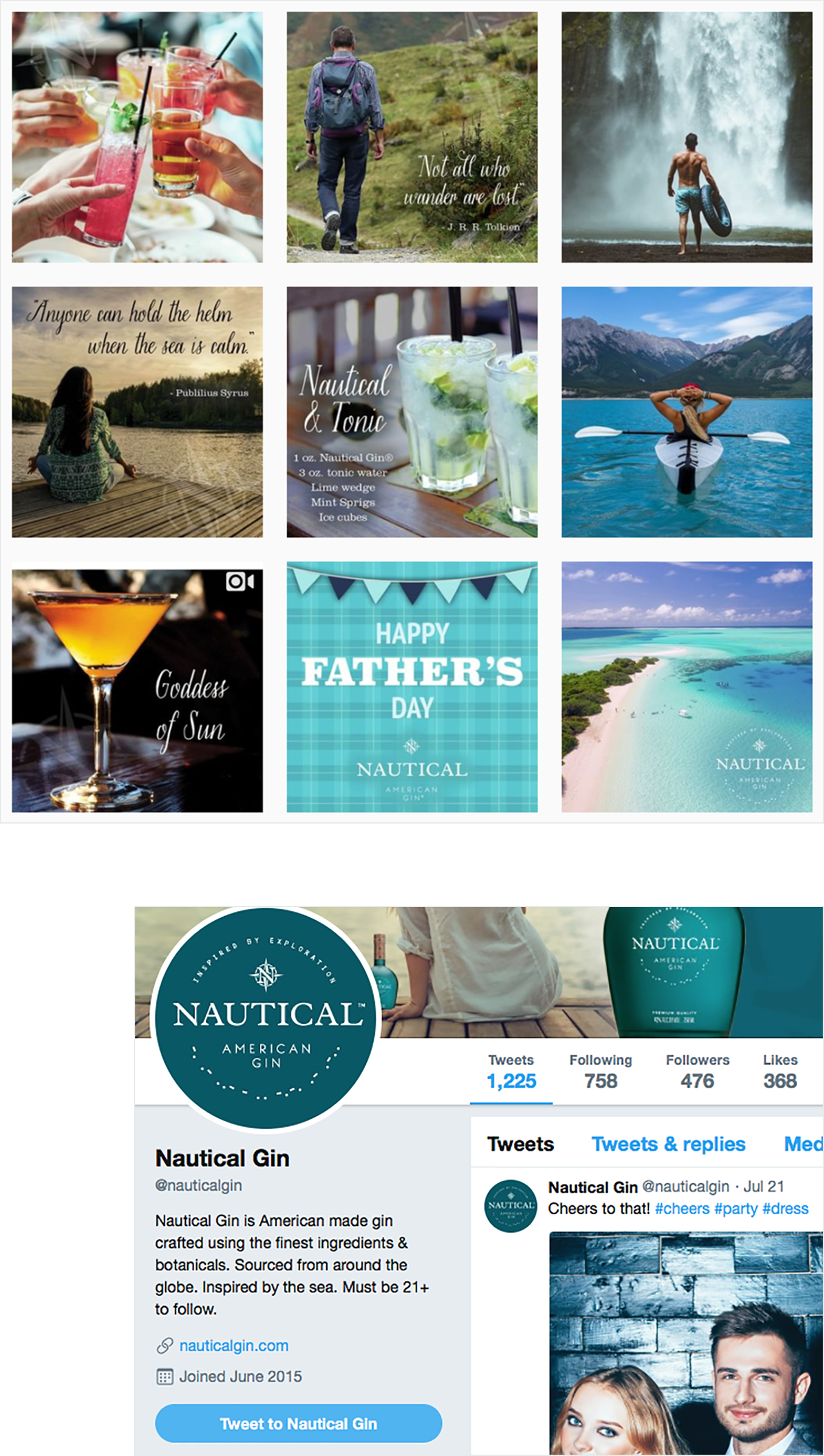 Nautical Gin twitter screenshots