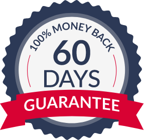 100% 60 Days Money Back Guarantee illustration icon