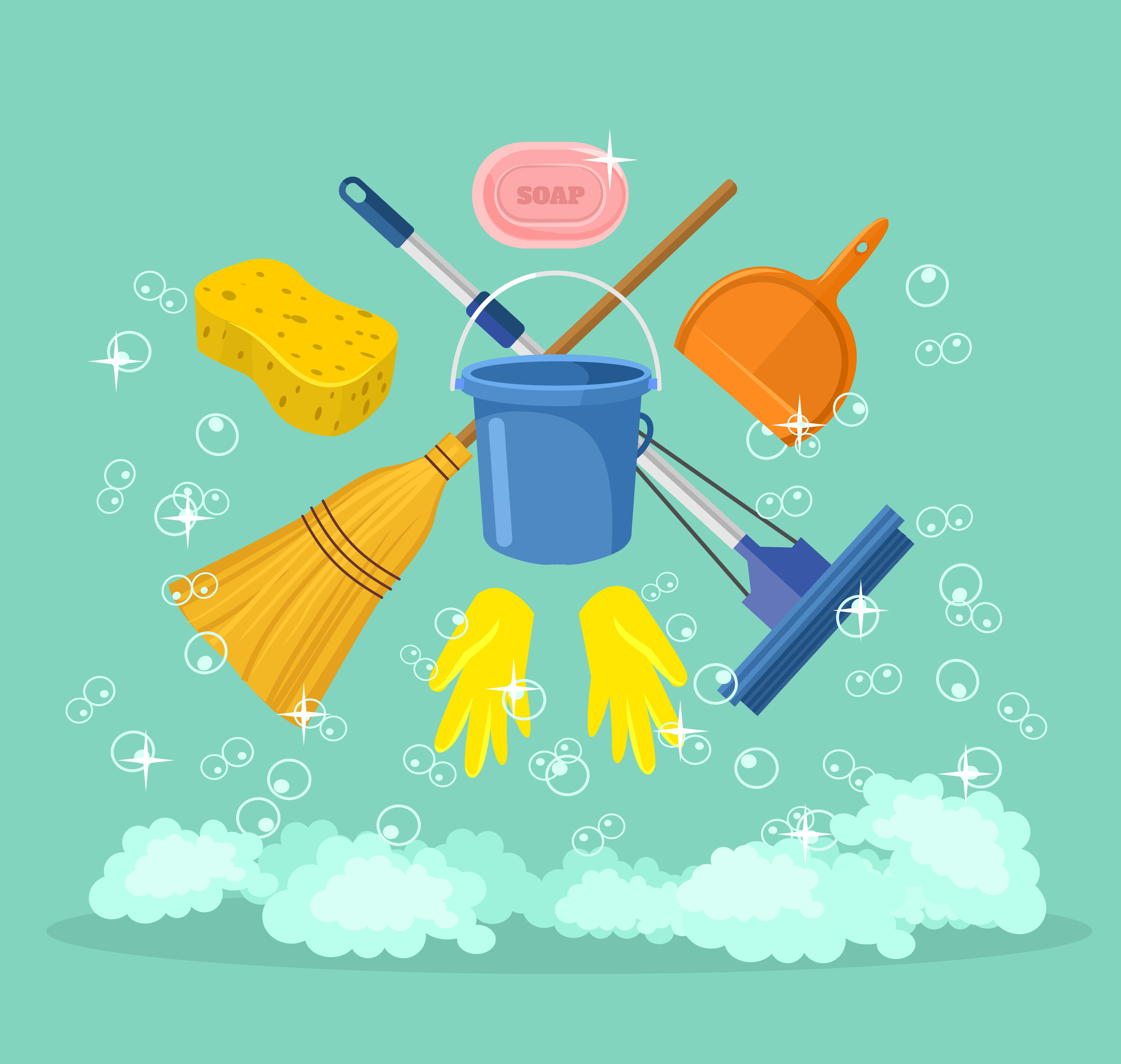 vector image of cleaning supplies