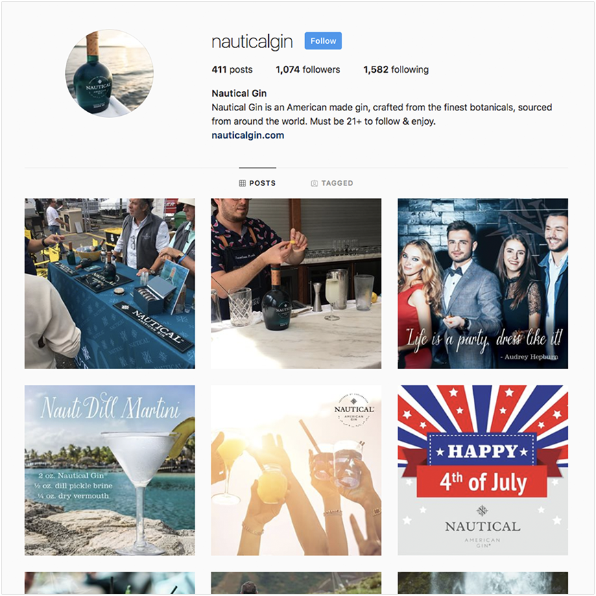 Nautical Gin Instagram screenshot