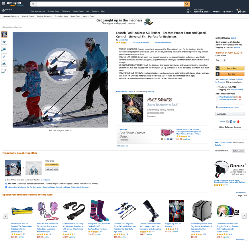 Launch Pad Hookease Amazon product page screenshot