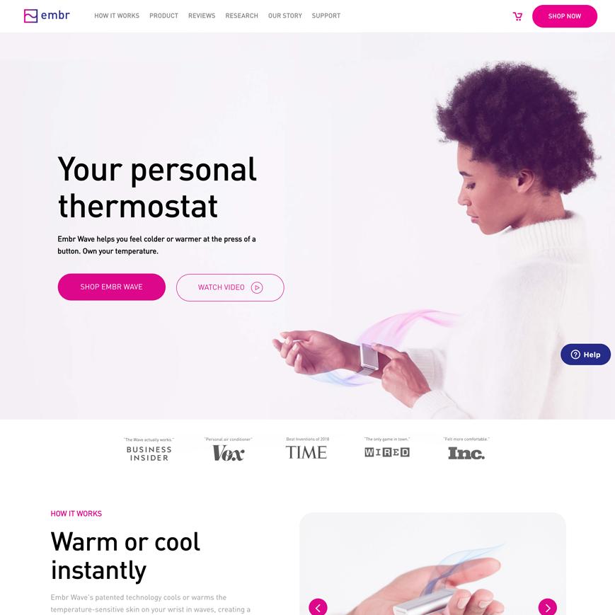 Embr website homepage screenshot