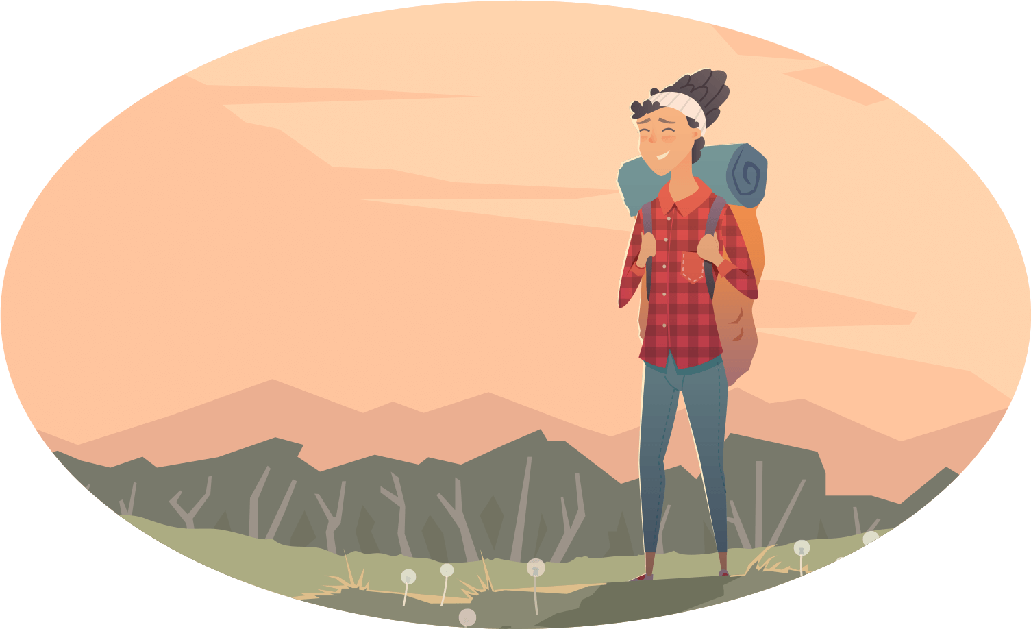 vector of woman smiling, surrounded by nature