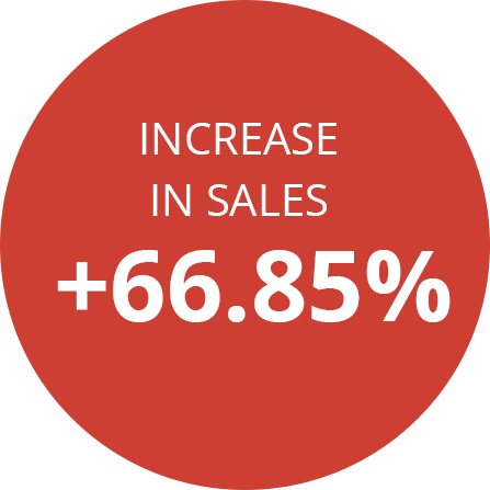 Increase in sales +66.85%