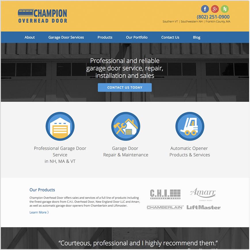 Champion website homepage screenshot