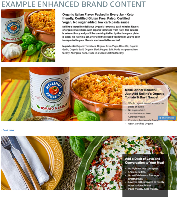 Screenshot of Amazon example enhanced brand content