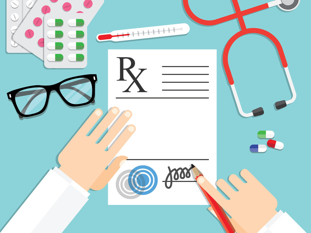 doctor writing a prescription illustration