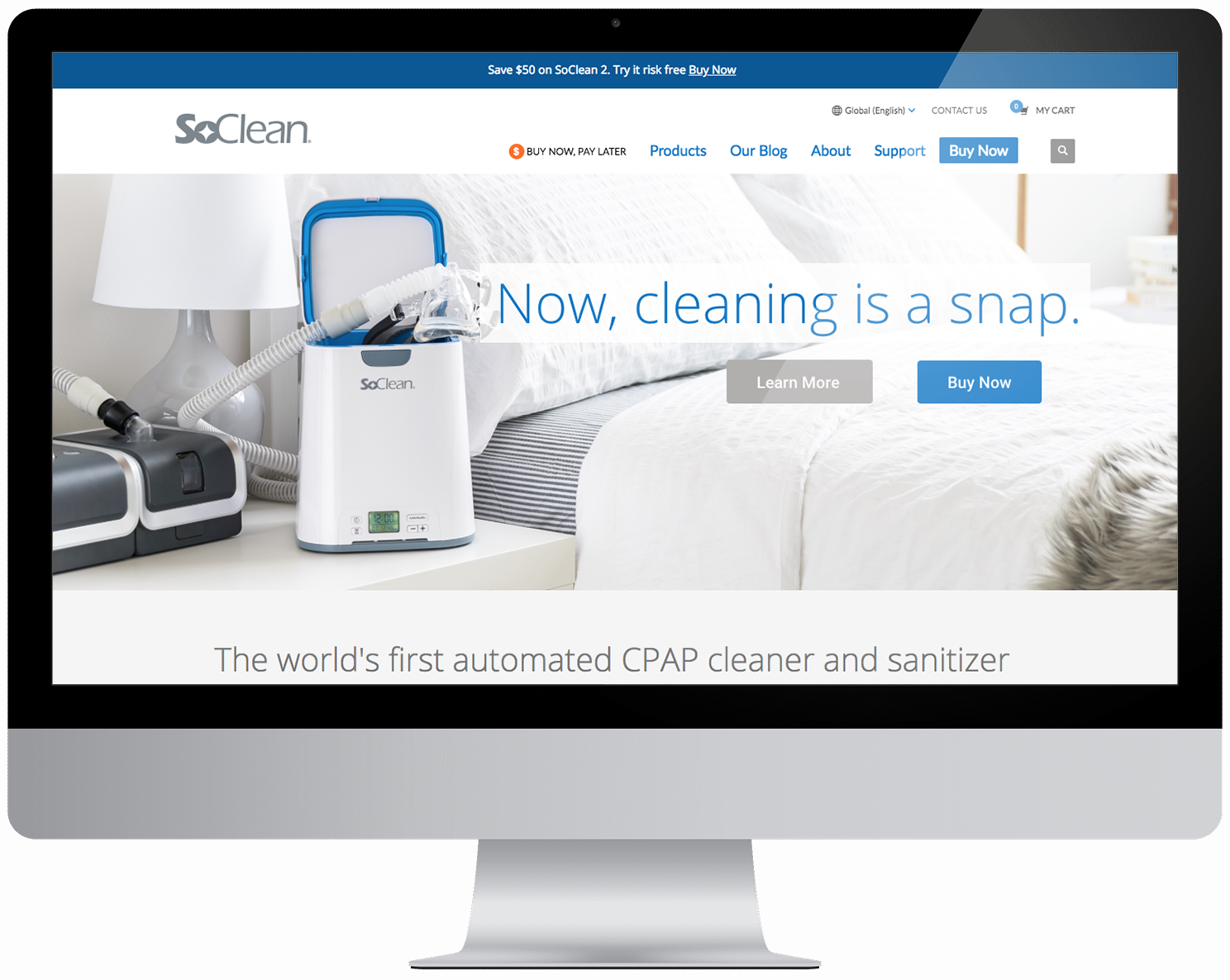 Computer with screenshot of SoClean homepage