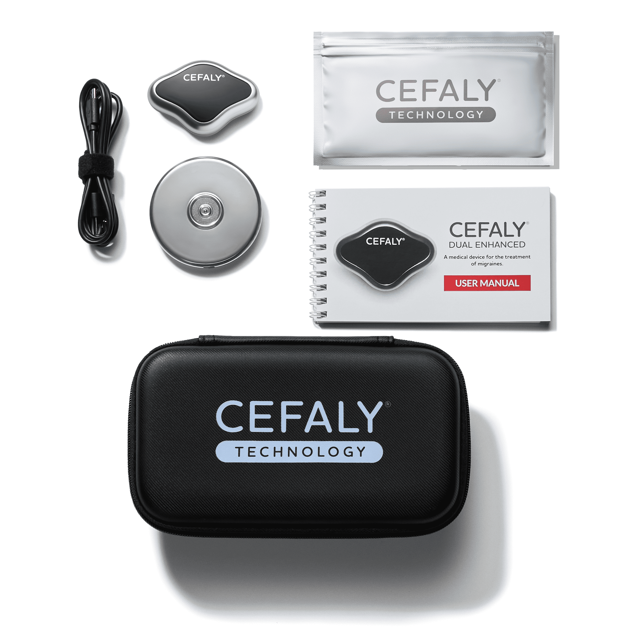Cefaly Migraine treatment and prevention device with electrode laid out on work desk  4