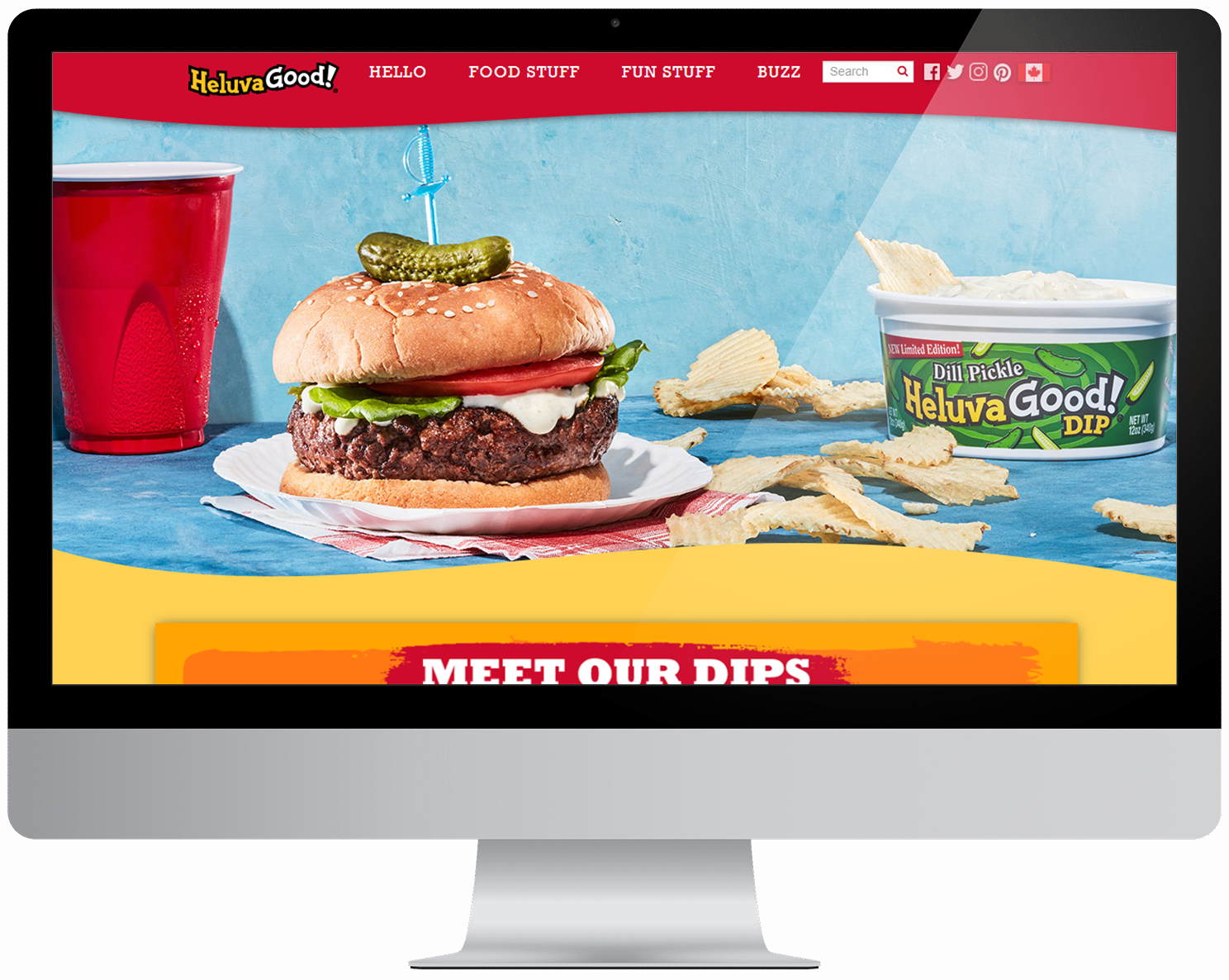 Screenshot of Heluva Good Dip homepage