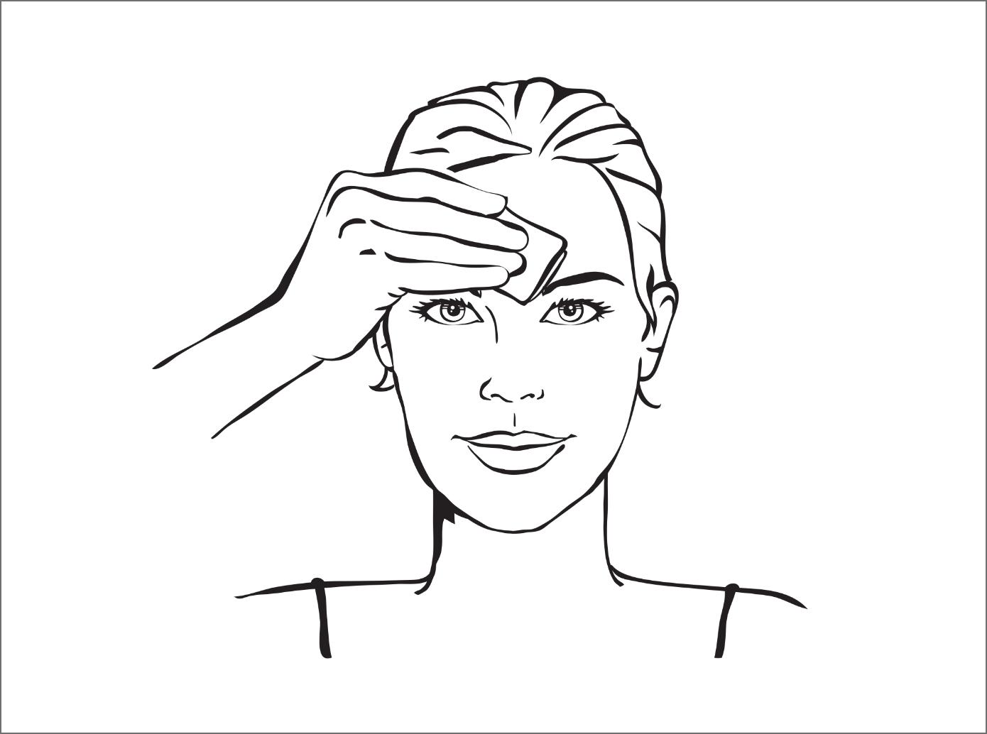 Illustration de l'étape 1 - Femme nettoyant son fron