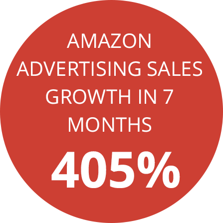 Red circle showing 405% Amazon advertising sales growth in 7 months