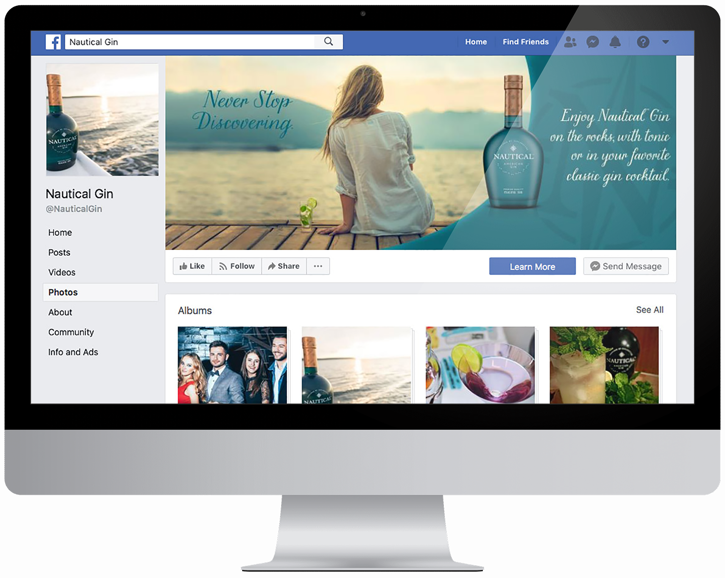 Computer showing Nautical Gin facebook homepage