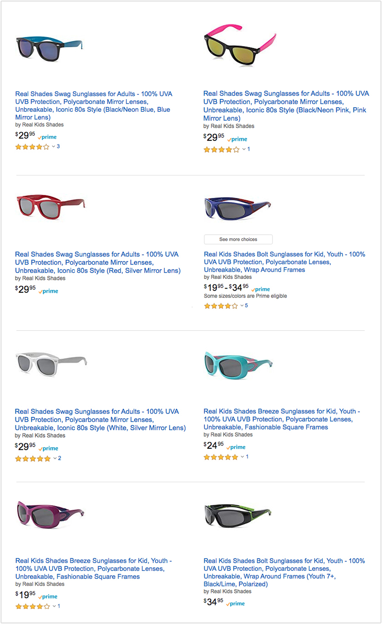 Screenshot of Real Shades Amazon product listings