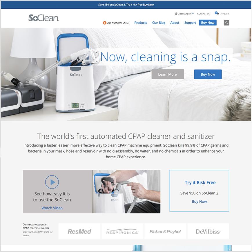 SoClean website homepage screenshot