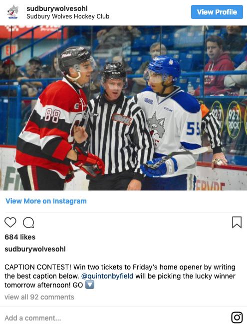 Sudbury Wolves Hockey Club Instgram contest post