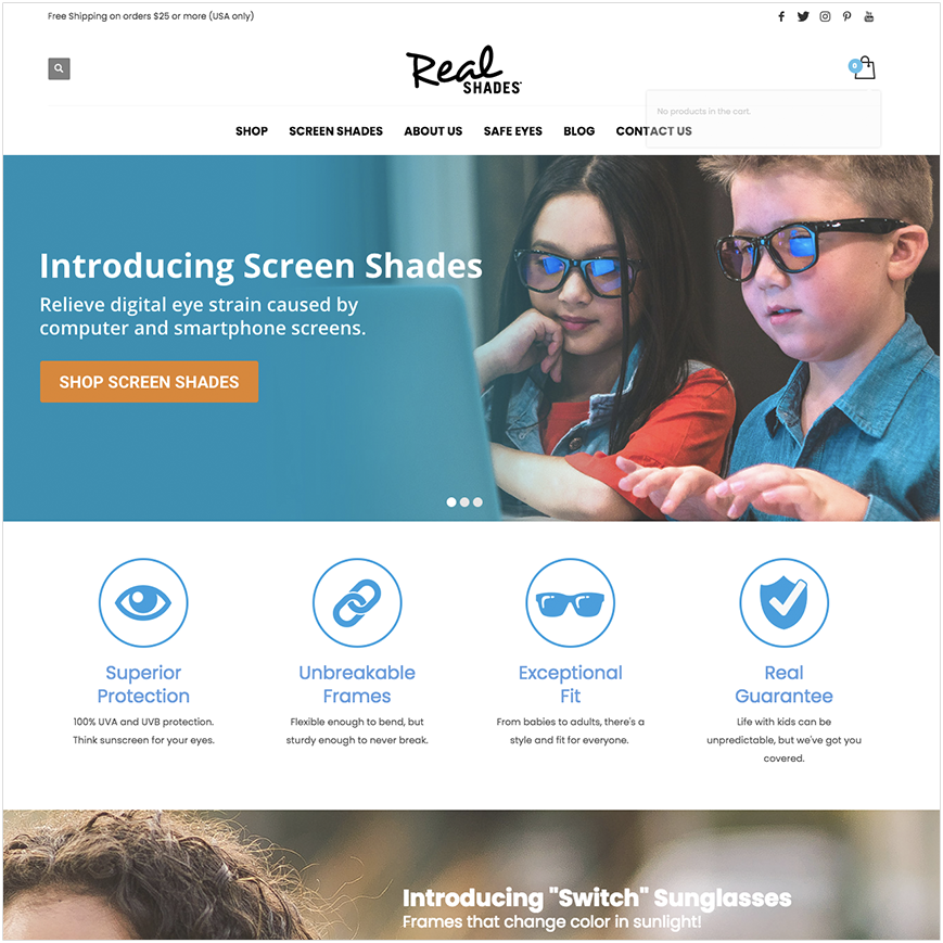 Real Kid Shades website homepage screenshot