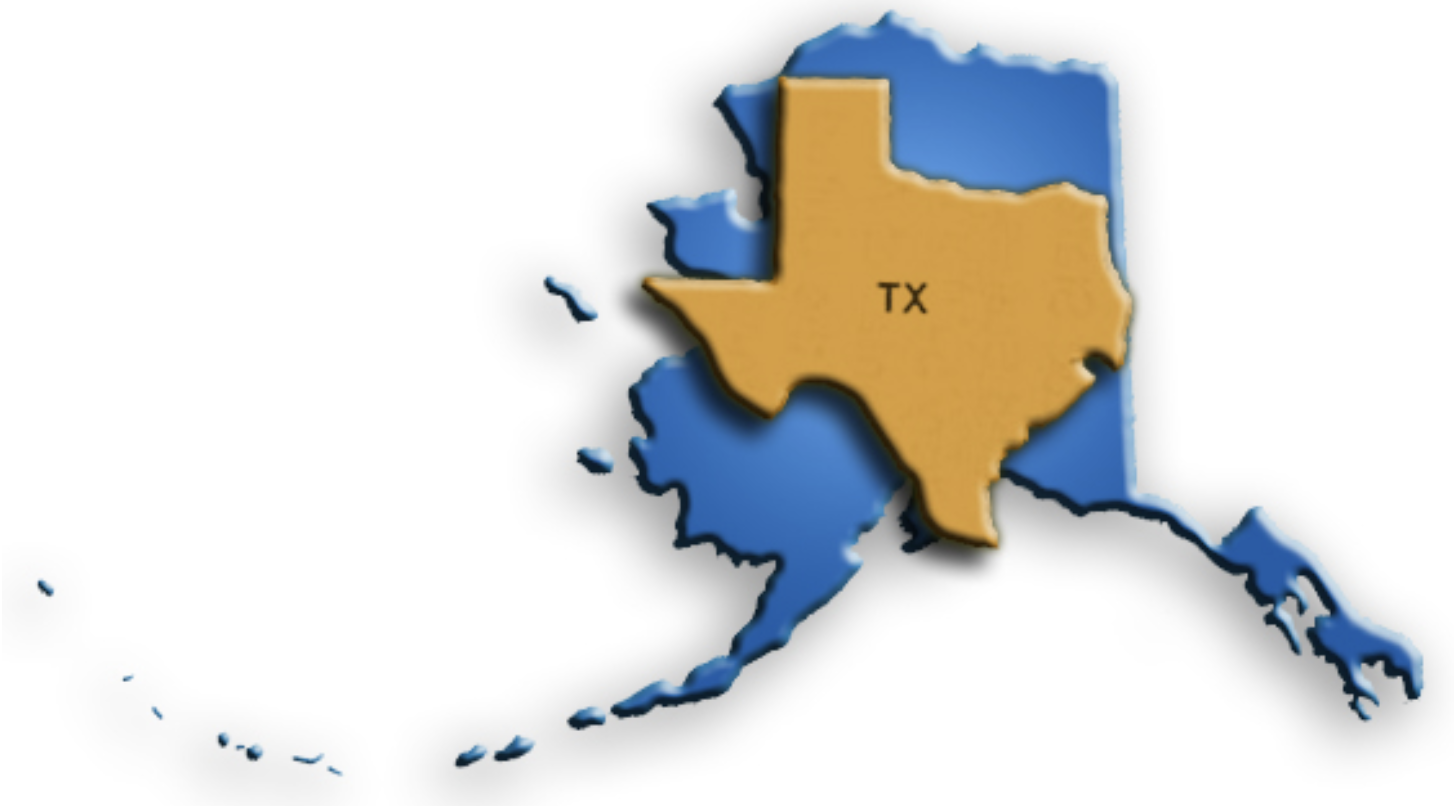 Alaska and Texas map overlay comparing size
