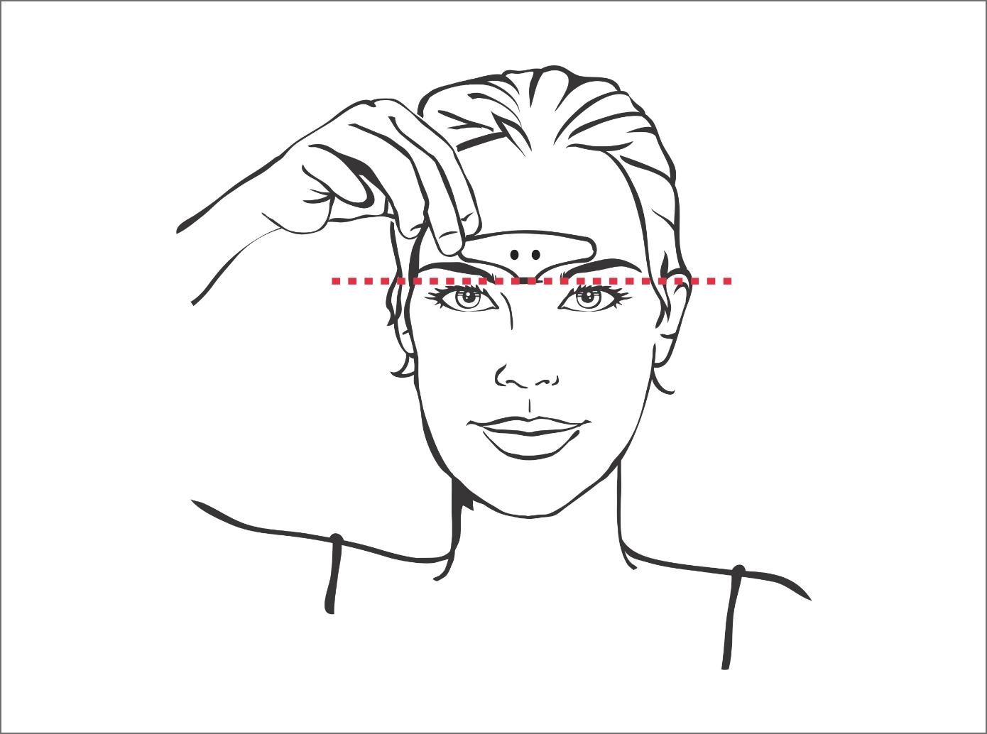 Illustration de l'étape 3 - femme alignant la bande d'électrode sur son front