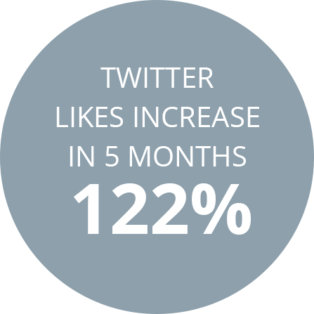 Twitter likes increase in 5 months 122%