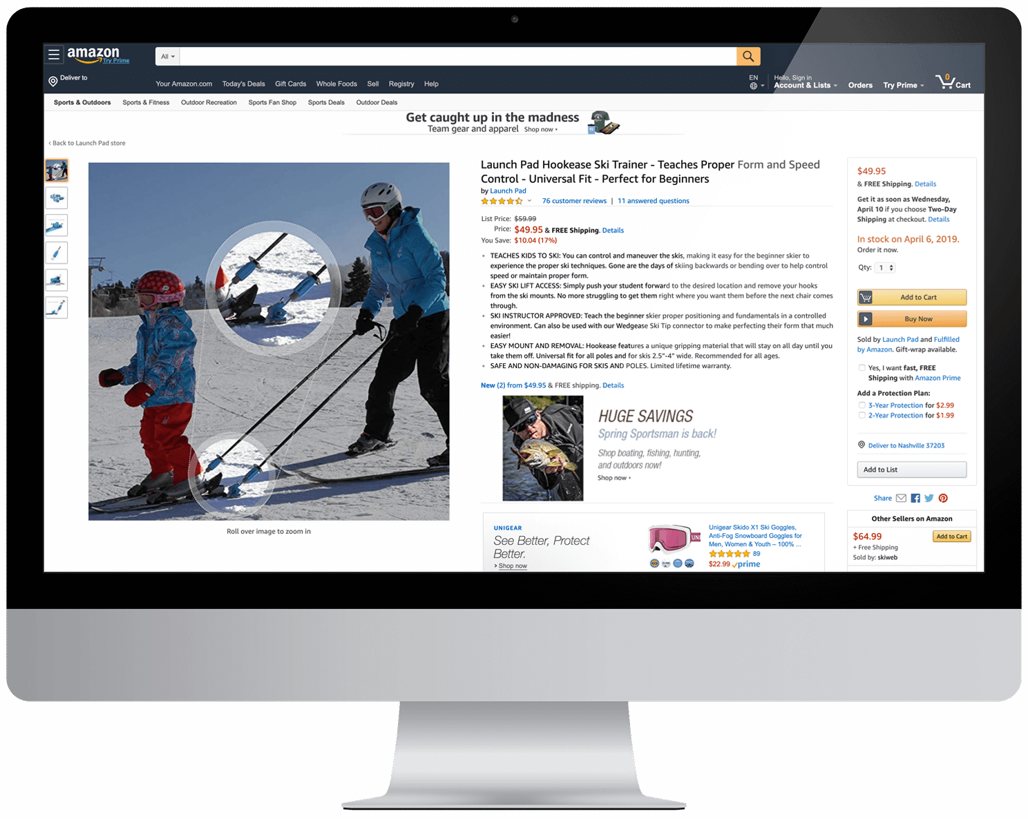 Computer showing launch pad hookease ski trainer Amazon product listing