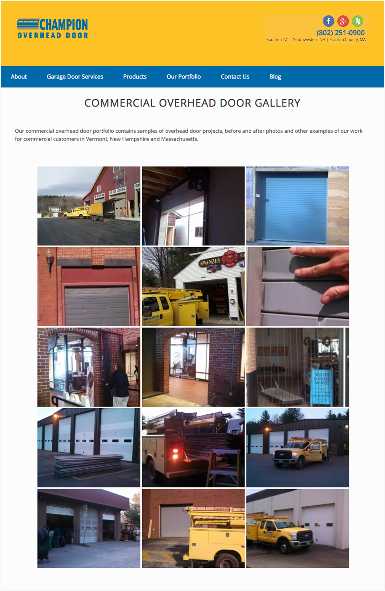 Champion Overhead Door client installation photos screenshot